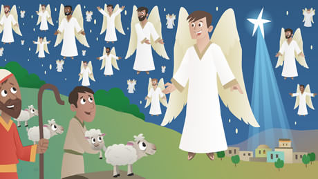 Angels appear to the shepherds to tell them about the birth of Christ